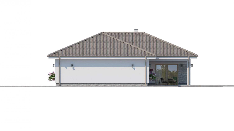 Pohľad 2. - Prízemný rodinný dom s garážou v tvare L.
