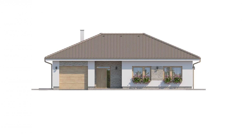 Pohľad 1. - Prízemný rodinný dom s garážou v tvare L.