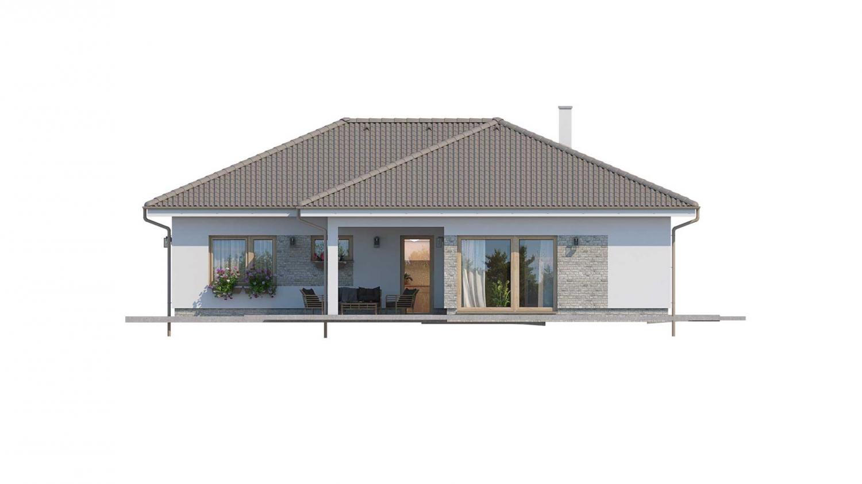 Pohľad 3. - Prízemný rodinný dom s garážou v tvare L.