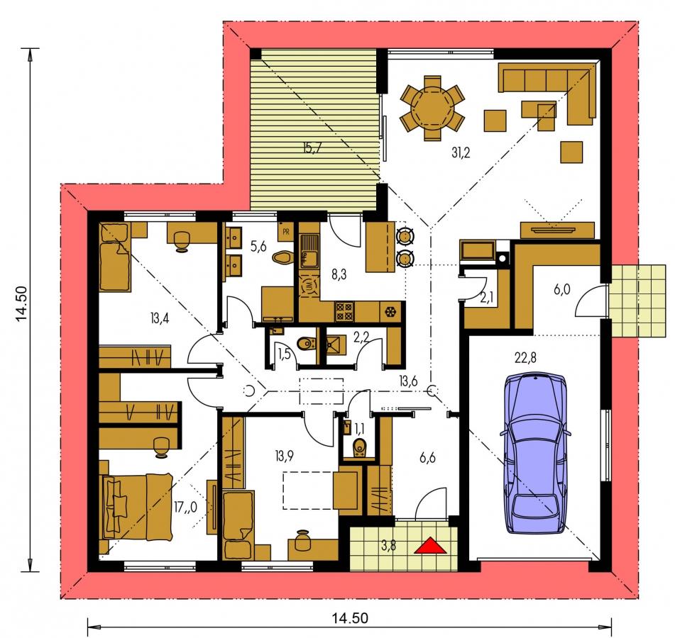 Pôdorys Prízemia - Prízemný rodinný dom s garážou v tvare L.
