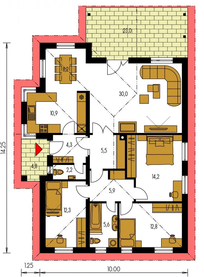 Pôdorys Prízemia - Prízemný projekt domu, bezbariérový