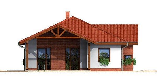 Pohľad 2. - Prízemný projekt domu. 4-izbový RD bez garáže.