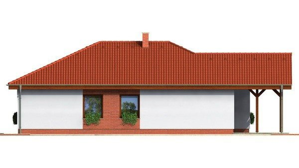 Pohľad 3. - Prízemný projekt domu, bezbariérový