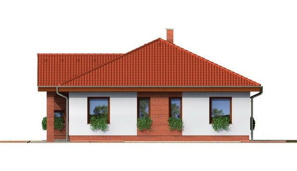 Pohľad 4. - Prízemný projekt domu. 4-izbový RD bez garáže.