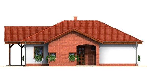 Pohľad 1. - Prízemný projekt domu. 4-izbový RD bez garáže.