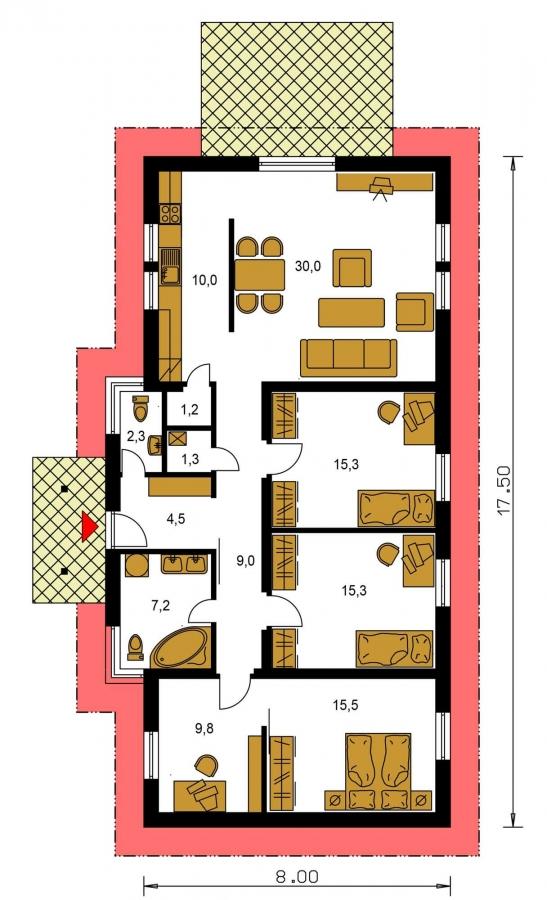 Pôdorys Prízemia - Rodinný dom na úzky pozemok