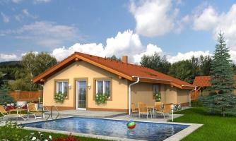 Projekt malého domu na úzky pozemok so sedlovou strechou.