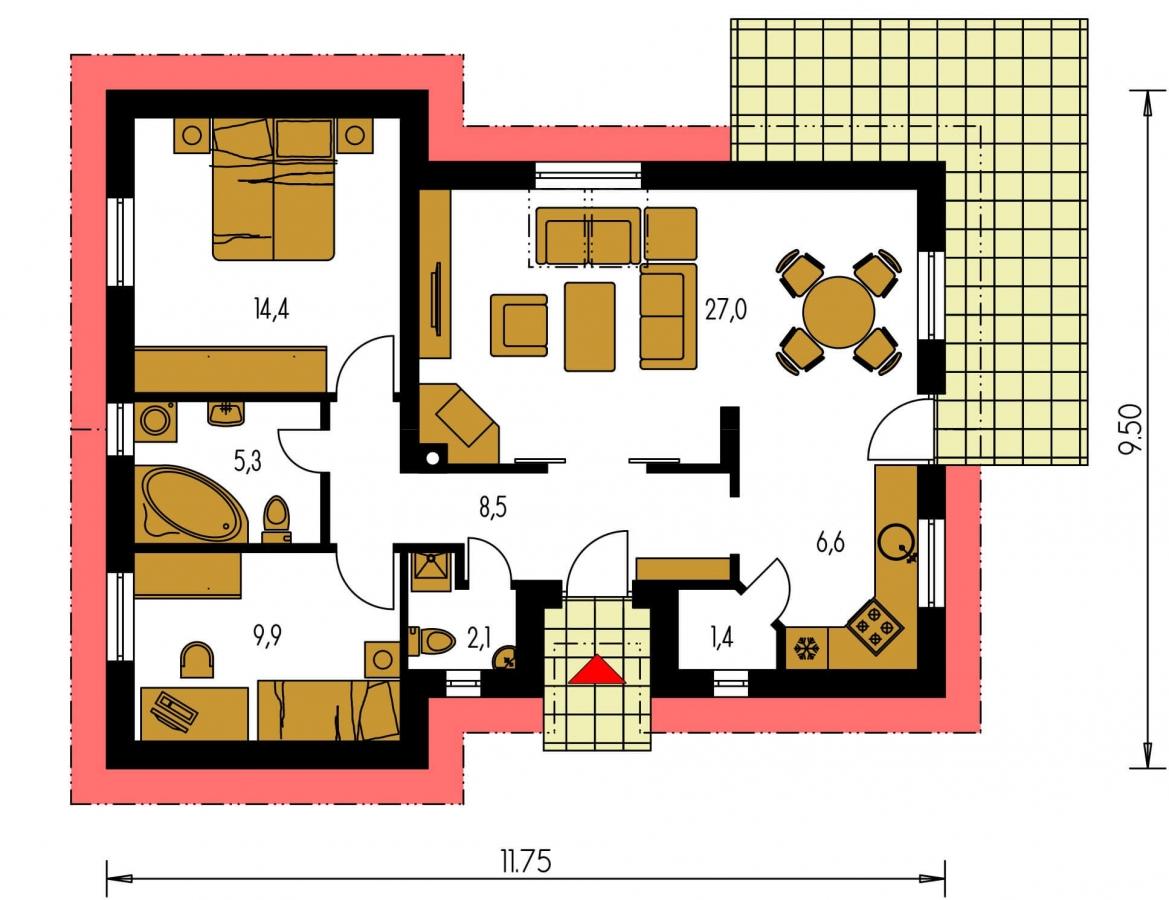 Pôdorys Prízemia - Projekt malého domu na úzky pozemok so sedlovou strechou.