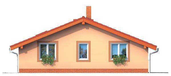 Pohľad 1. - Projekt malého domu na úzky pozemok so sedlovou strechou.