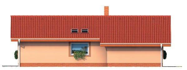 Pohľad 2. - Projekt malého domu na úzky pozemok so sedlovou strechou.