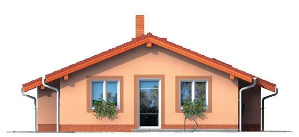 Pohľad 3. - Projekt malého domu na úzky pozemok so sedlovou strechou.