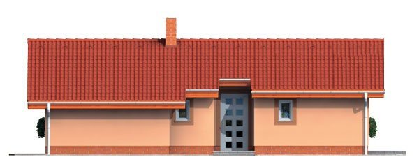 Pohľad 4. - Projekt malého domu na úzky pozemok so sedlovou strechou.