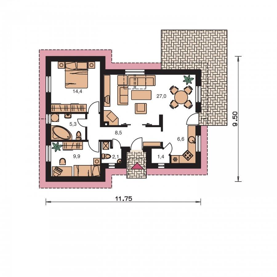 Pôdorys Prízemia - Projekt malého domu na úzky pozemok so sedlovou strechou