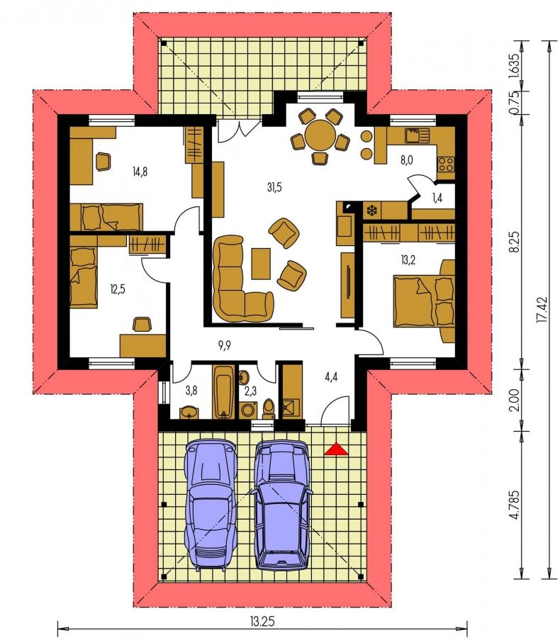 Pôdorys Prízemia - Pekný rodinný dom s krytou terasou a prístreškom pre dve autá.