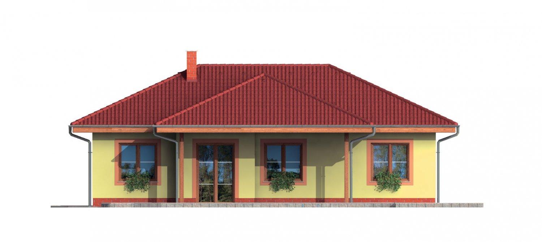 Pohľad 3. - Pekný rodinný dom s krytou terasou a prístreškom pre dve autá.