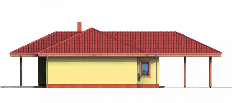 Pohľad 4. - Pekný rodinný dom s krytou terasou a prístreškom pre dve autá.
