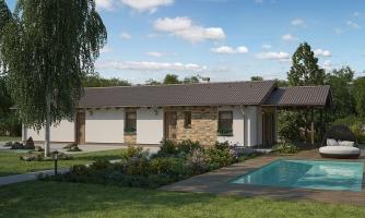 Projekt prízemného rodinného domu na úzky pozemok s garážou
