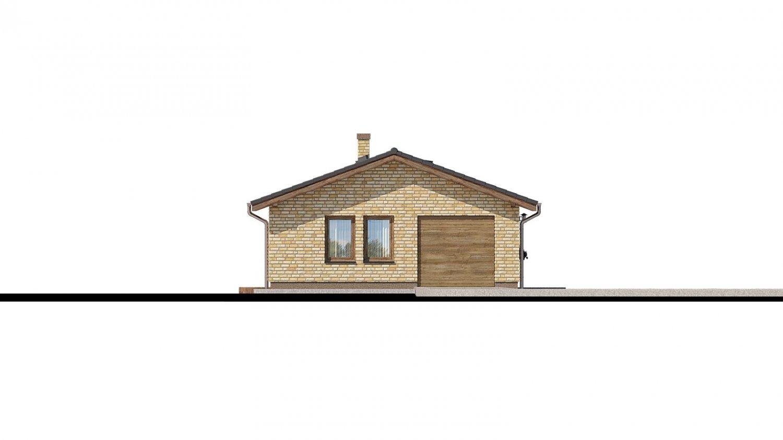 Pohľad 4. - Projekt prízemného rodinného domu na úzky pozemok s garážou.