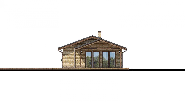Pohľad 2. - Projekt prízemného rodinného domu na úzky pozemok s garážou.