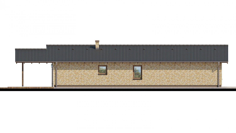 Pohľad 3. - Projekt prízemného rodinného domu na úzky pozemok s garážou.
