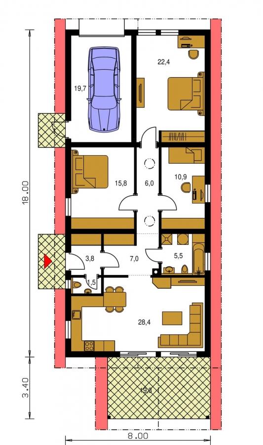 Pôdorys Prízemia - Projekt prízemného rodinného domu na úzky pozemok s garážou.