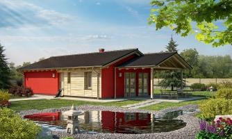 Malý rodinný dom na úzky pozemok s prekrytou terasou.