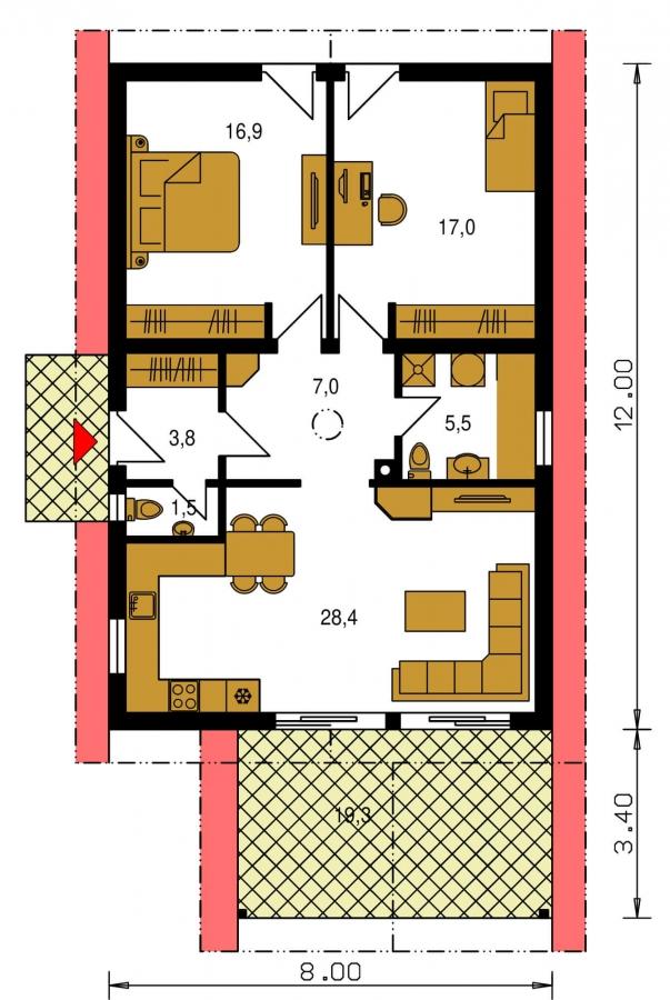 Pôdorys Prízemia - Malý rodinný dom na úzky pozemok s prekrytou terasou