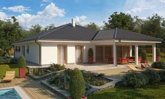 Exkluzívny jednoduchý dom s dvojgarážou a krytou terasou na sedenie