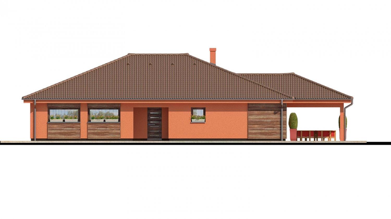 Pohľad 1. - Exkluzívny jednoduchý dom s dvojgarážou a krytou terasou na sedenie