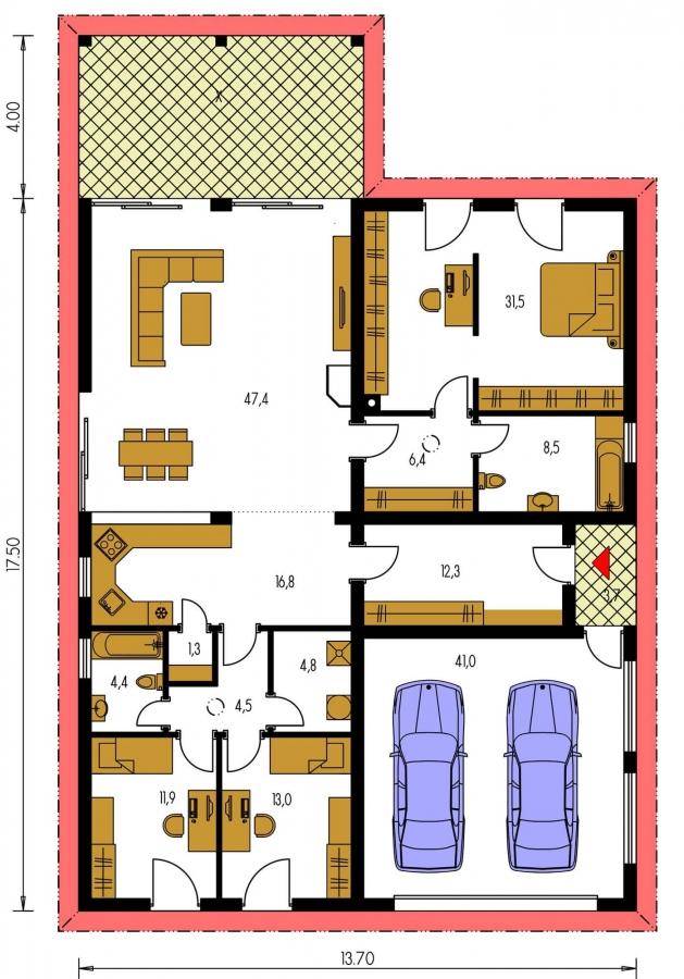Pôdorys Prízemia - Exkluzívny jednoduchý dom s dvojgarážou a krytou terasou na sedenie