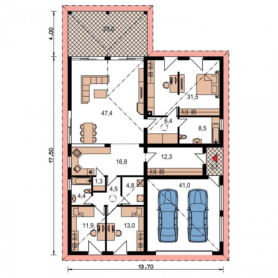 Pôdorys Prízemia - Exkluzívny jednoduchý dom s dvojgarážou