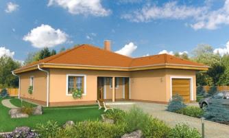 Projekt domu s jednogarážou a valbovoui strechou. Možnosť realizácie domu bez garáže.