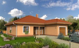 Projekt domu s jednogarážou a valbovou strechou. Možnosť realizácie domu bez garáže.