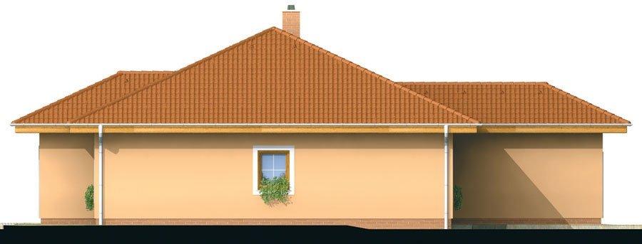 Pohľad 4. - Projekt domu s jednogarážou a valbovoui strechou. Možnosť realizácie domu bez garáže.