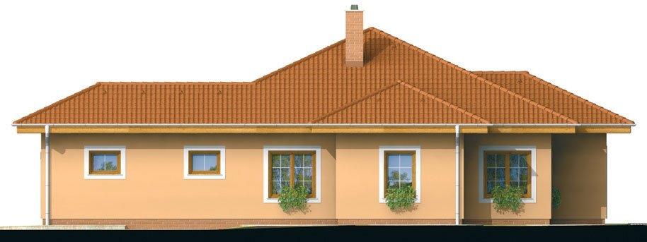Pohľad 2. - Projekt domu s jednogarážou a valbovou strechou. Možnosť realizácie domu bez garáže.