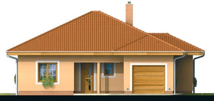 Pohľad 1. - Projekt domu s jednogarážou a valbovoui strechou. Možnosť realizácie domu bez garáže.