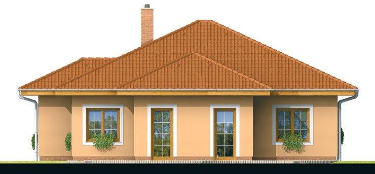 Pohľad 3. - Projekt domu s jednogarážou a valbovoui strechou. Možnosť realizácie domu bez garáže.