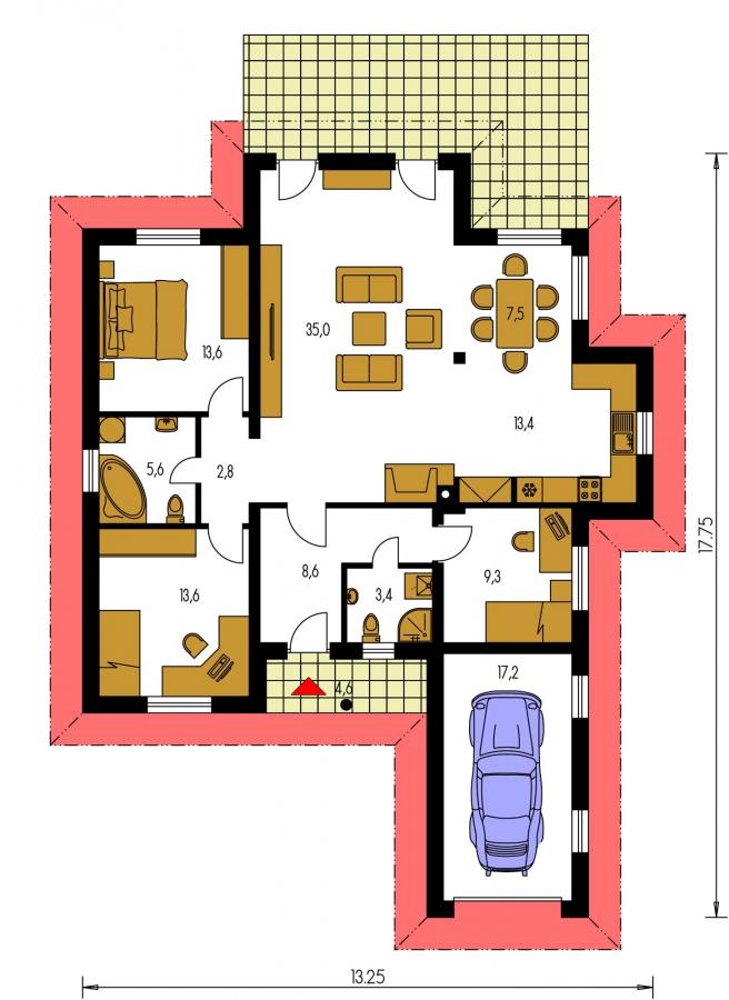 Pôdorys Prízemia - Projekt domu s jednogarážou a valbovou strechou. Možnosť realizácie domu bez garáže.