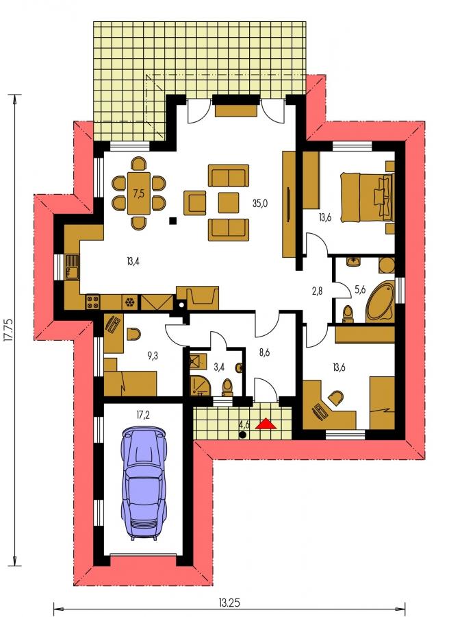 Pôdorys Prízemia - Projekt domu s jednogarážou a valbovoui strechou. Možnosť realizácie domu bez garáže.