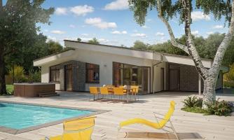 Rodinný dom s pultovými strechami a garážou. Možnosť výstavby bez garáže.