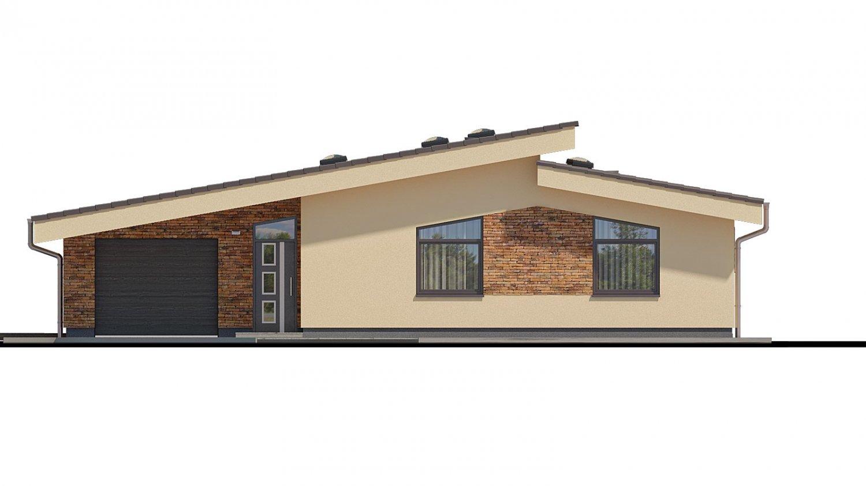 Pohľad 1. - Rodinný dom s pultovými strechami a garážou, možnosť výstavby bez garáže