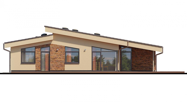 Pohľad 3. - Rodinný dom s pultovými strechami a garážou, možnosť výstavby bez garáže