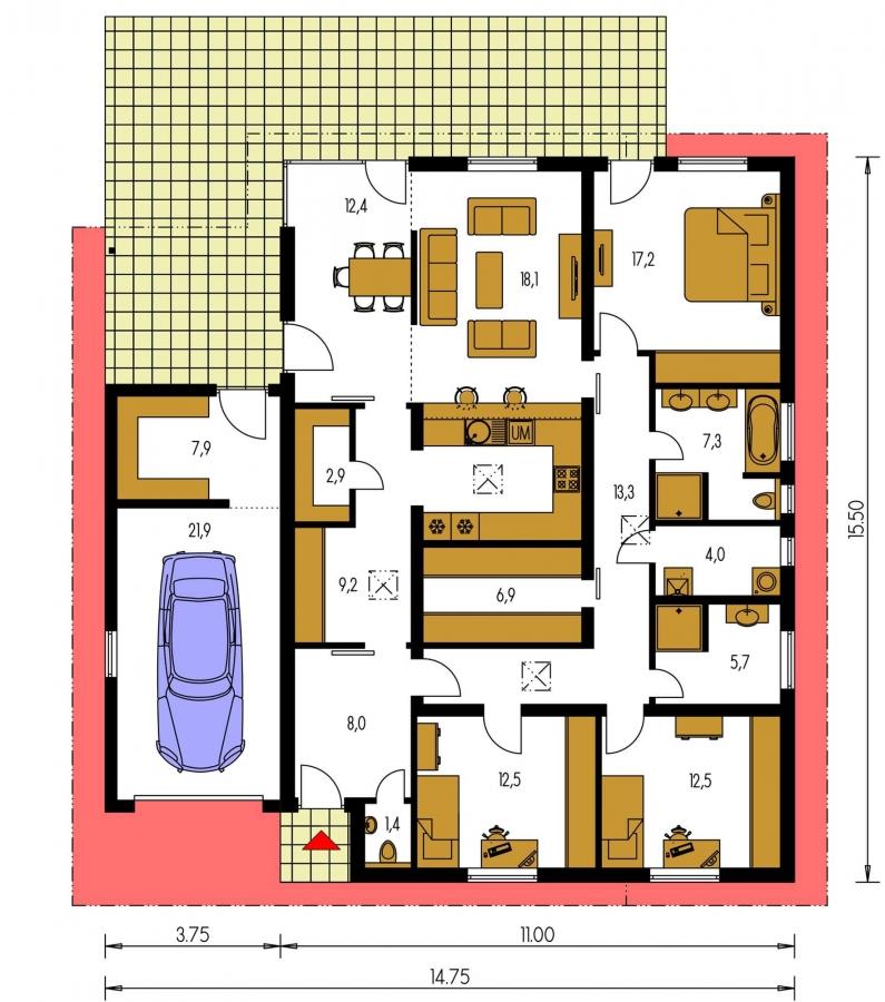 Pôdorys Prízemia - Rodinný dom s pultovými strechami a garážou, možnosť výstavby bez garáže
