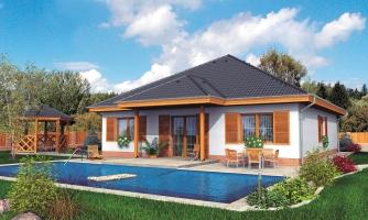 Zaujímavý projekt domu so stanovou strechou a s obytným podkrovím