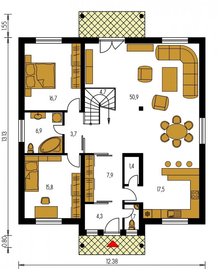Pôdorys Prízemia - Zaujímavý projekt domu so stanovou strechou a  s obytným podkrovím.