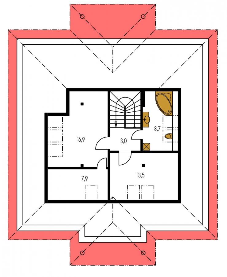 Pôdorys Poschodia - Zaujímavý projekt domu so stanovou strechou a  s obytným podkrovím.