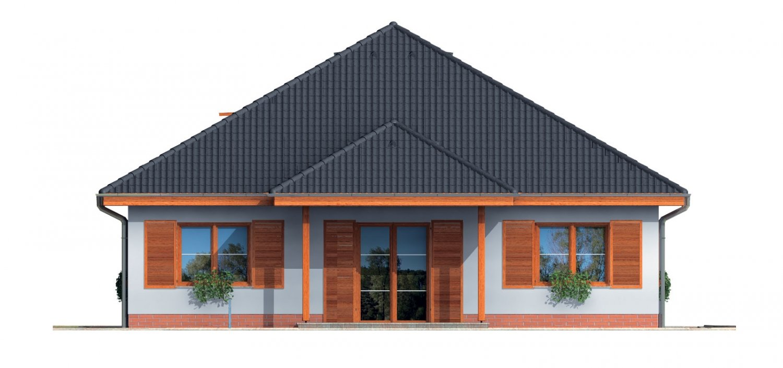 Pohľad 3. - Zaujímavý projekt domu so stanovou strechou a  s obytným podkrovím.