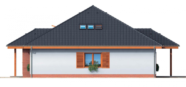 Pohľad 4. - Zaujímavý projekt domu so stanovou strechou a  s obytným podkrovím.