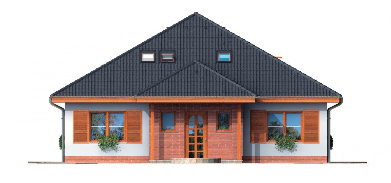 Pohľad 1. - Zaujímavý projekt domu so stanovou strechou a  s obytným podkrovím.