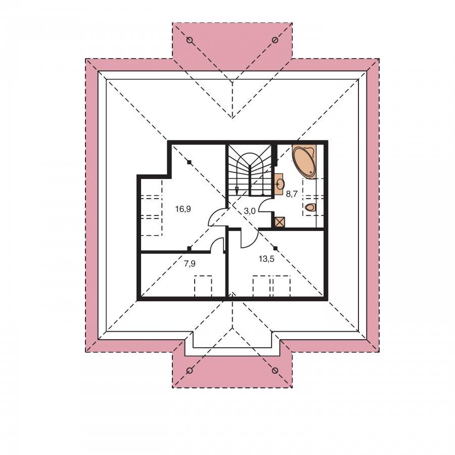 Pôdorys Poschodia - Zaujímavý murovaný dom s obytným podkrovím